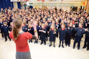 Pic Mick Gell , Signhealth record breaking attempt at Bishops Down Primary School Tunbridge Wells 8th Feb 2012.